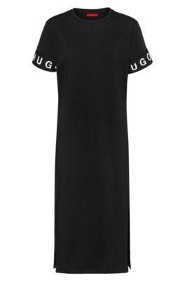 Robe t-shirt mi-longue en jersey avec logo au bas des manches, Noir