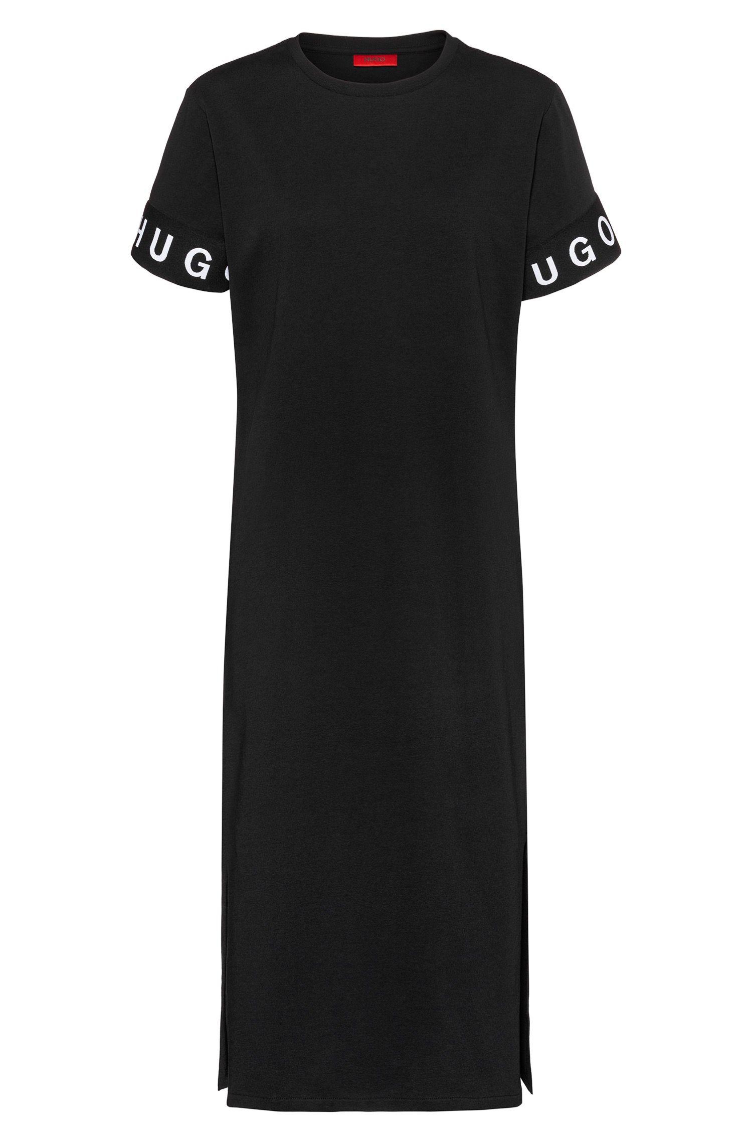 Midilange T-shirtjurk van jersey met logoboorden, Zwart