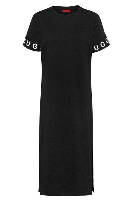 Midi T-shirt dress in jersey with logo cuffs, Black