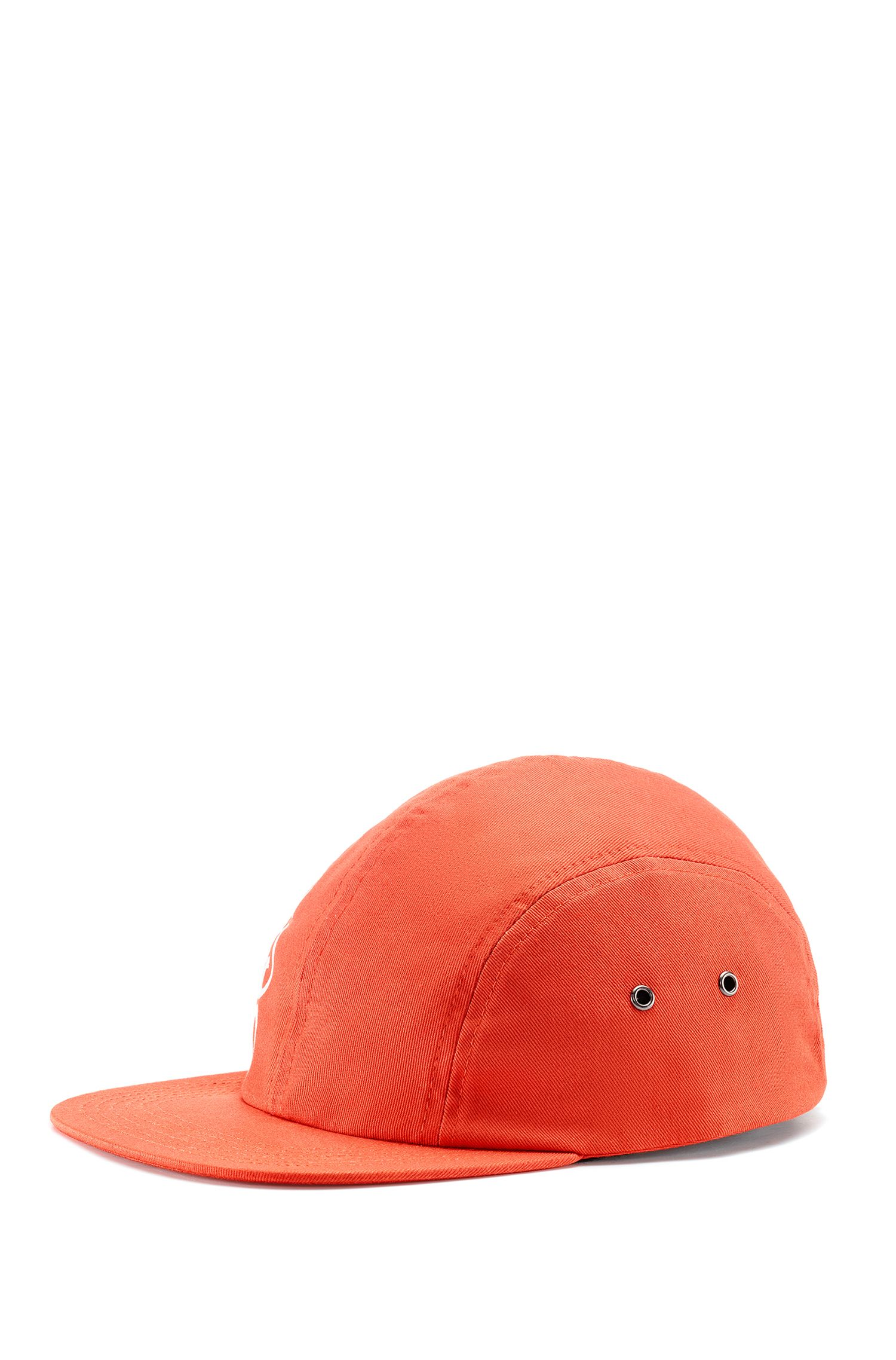 Reverse-logo cap in cotton gabardine, Orange