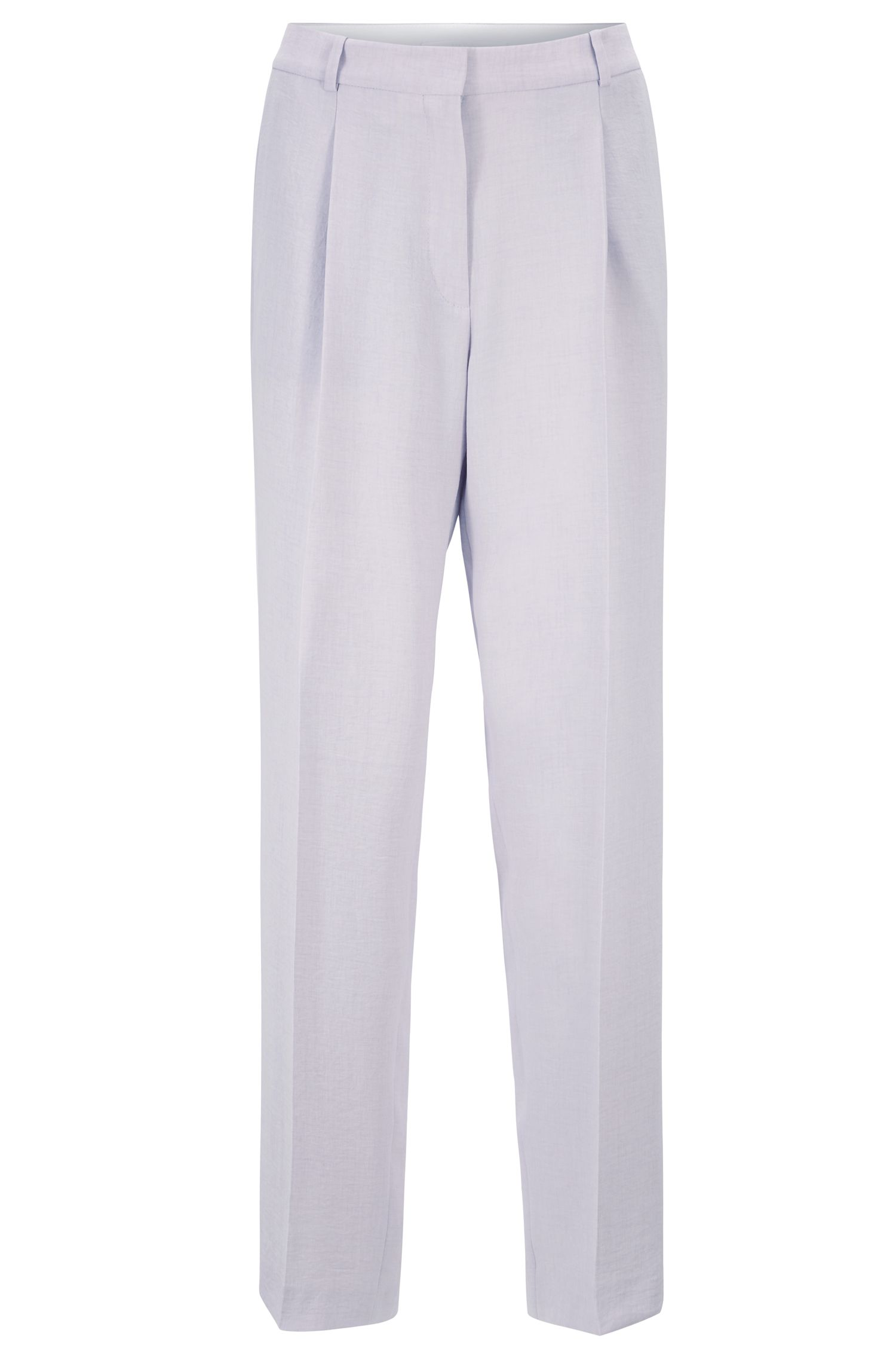Pantaloni relaxed fit in tessuto effetto lino, Luce viola