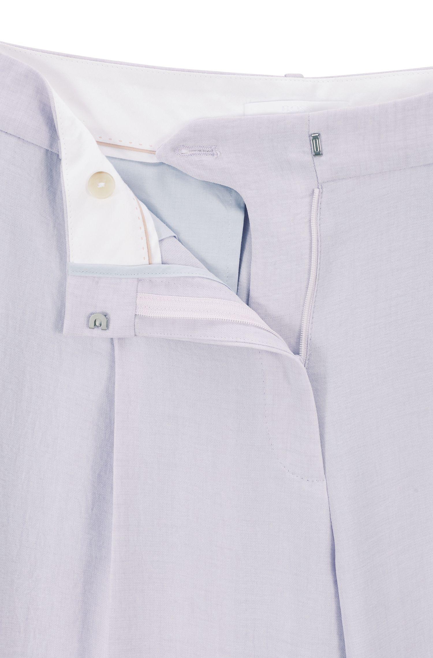 Relaxed-Fit Hose aus Gewebe in Leinen-Optik, Flieder
