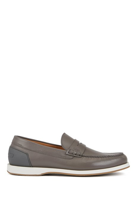Portuguese-made moccasins in smooth leather with rubber sole, Dark Grey