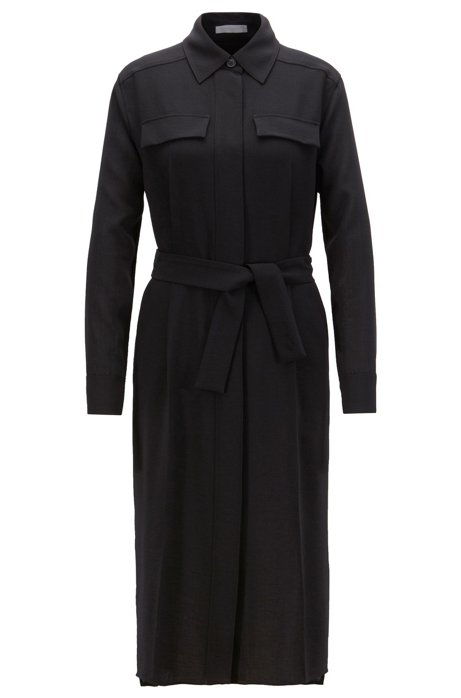 Long-length melange shirt dress with concealed placket, Black