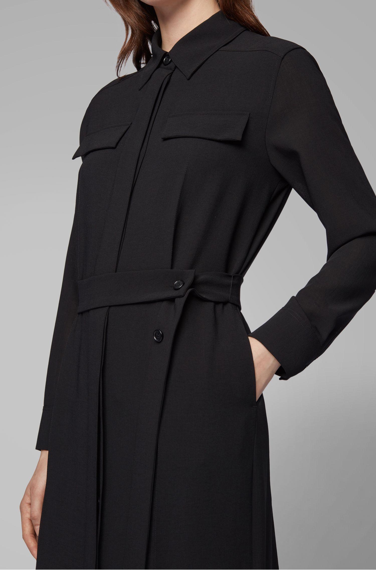 Long-length melange shirt dress with concealed placket, Black