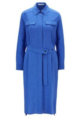 Meliertes Hemdblusenkleid mit verdeckter Knopfleiste, Blau