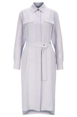 Robe-chemise longue chinée à patte de boutonnage invisible, Violet clair