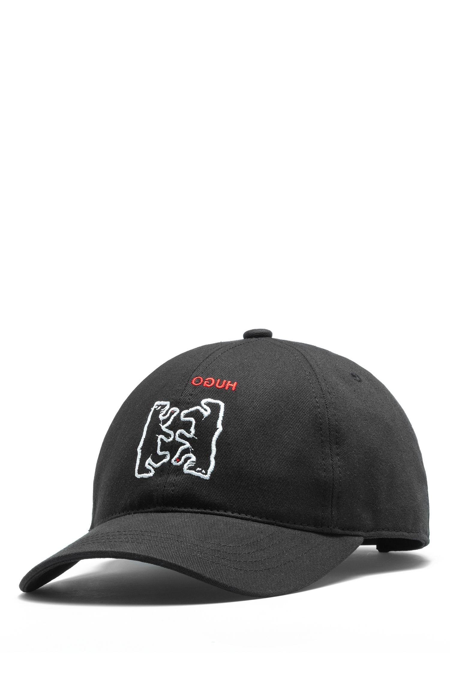 Casquette en twill de coton à motif ours brodé, Noir