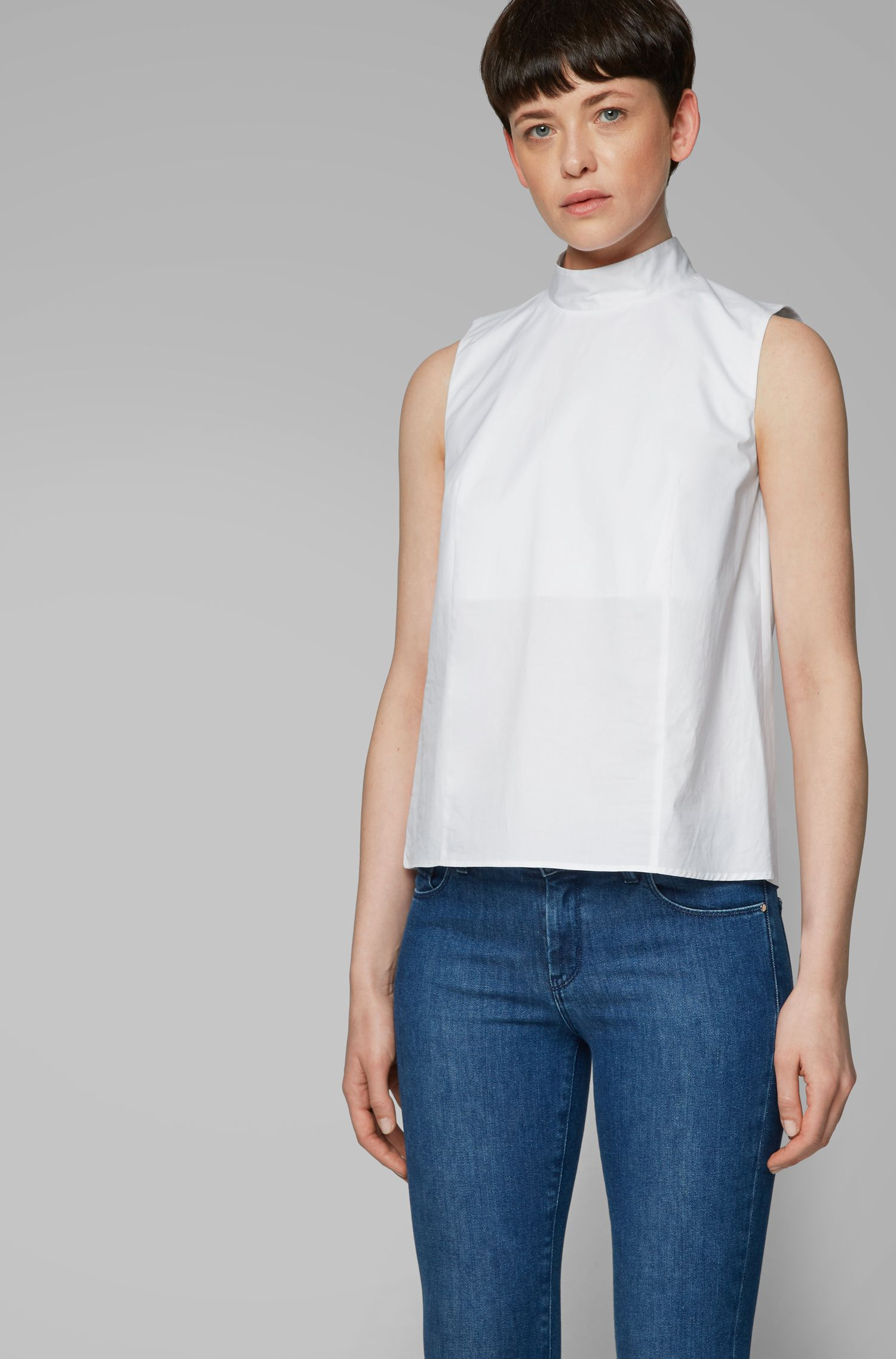 Sleeveless top in paper-touch stretch cotton, White
