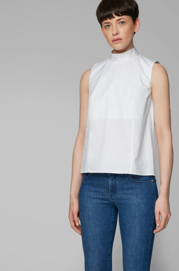 Sleeveless top in paper-touch stretch cotton