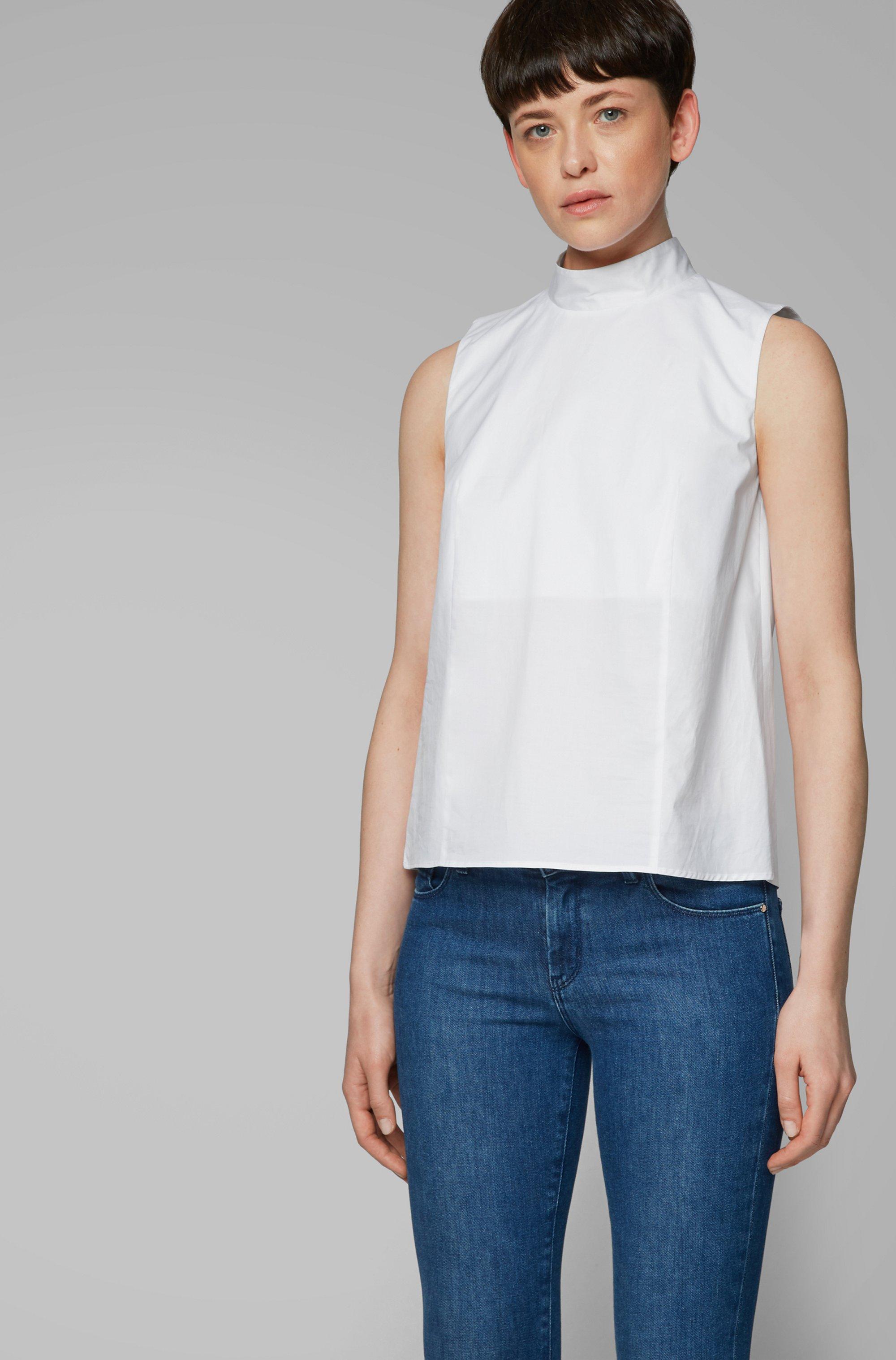 Ärmelloses Top aus Stretch-Baumwolle mit Paper-Touch-Effekt