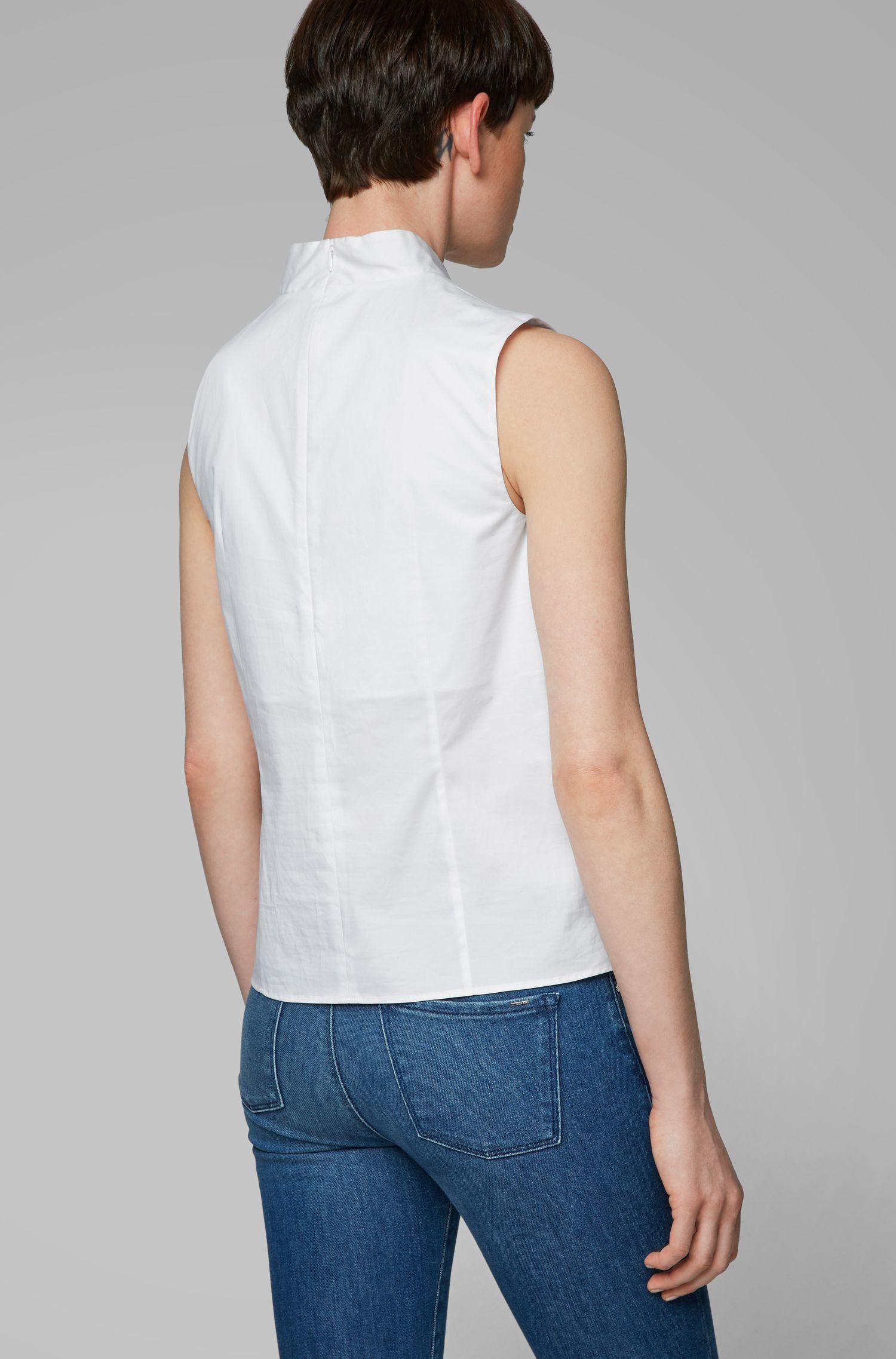 Mouwloze top van stretchkatoen met papierachtige touch, Wit