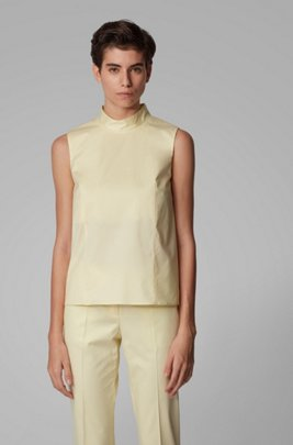 Sleeveless top in paper-touch stretch cotton, Light Yellow
