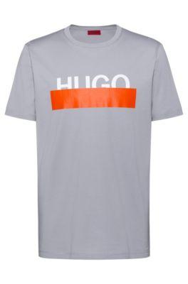 Katoenen T-shirt met nieuw afgesneden logo, Grijs