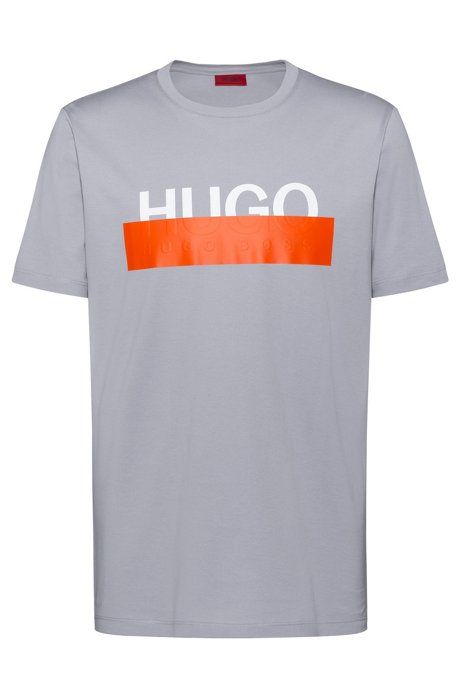 Cotton T-shirt with reworked cropped logo, Grey
