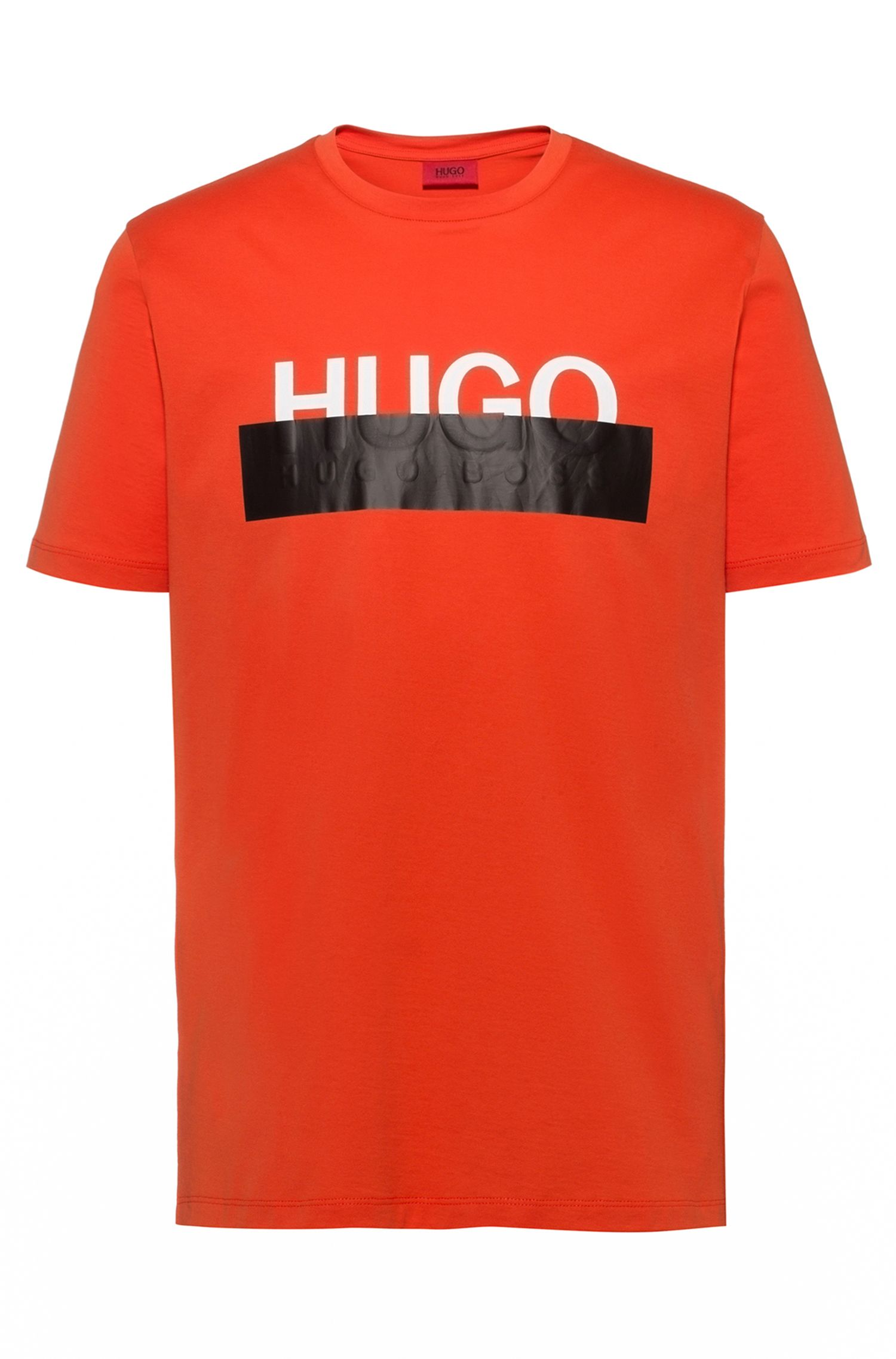 Cotton T-shirt with reworked cropped logo, Orange