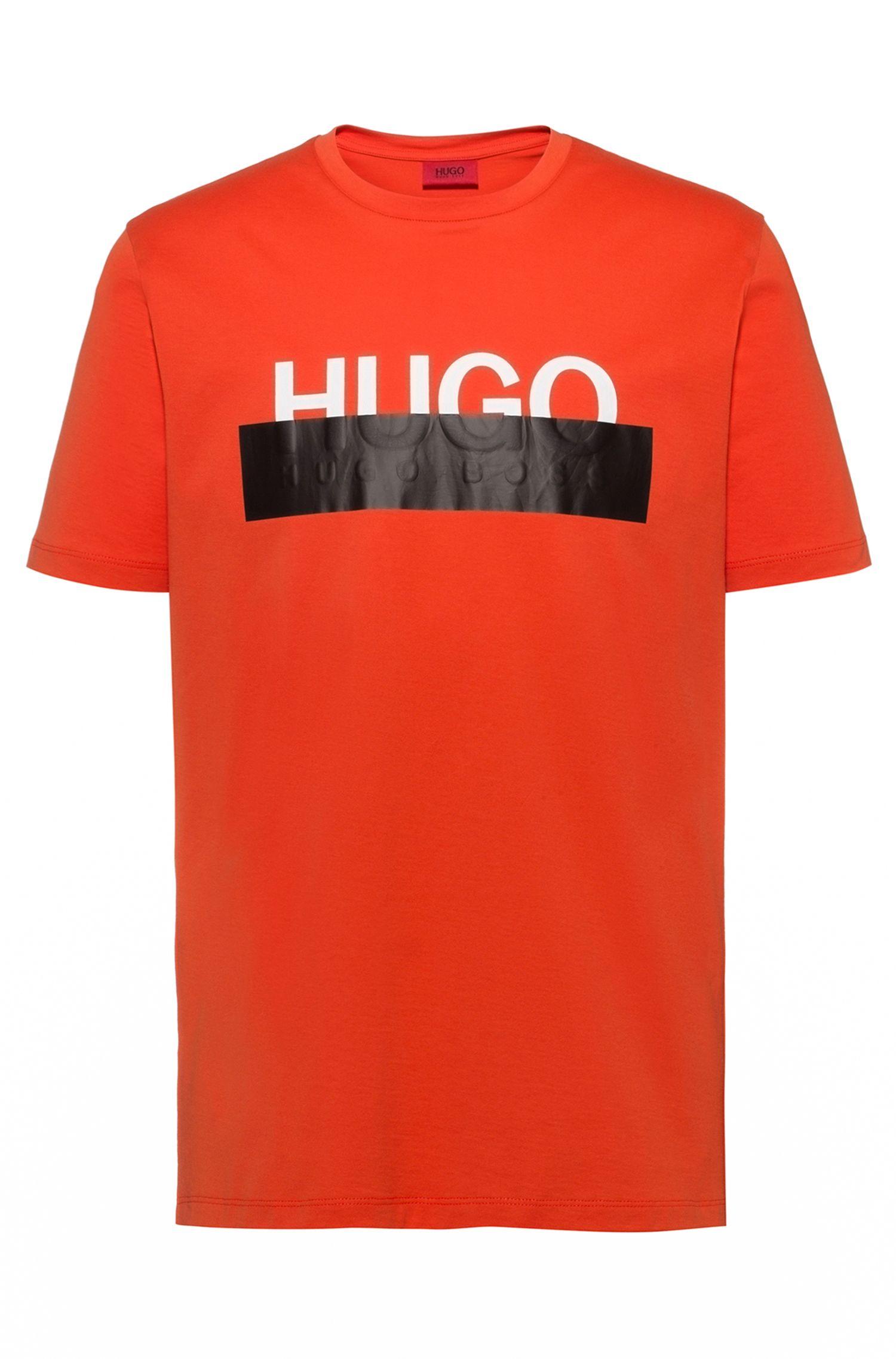 Katoenen T-shirt met nieuw afgesneden logo, Oranje
