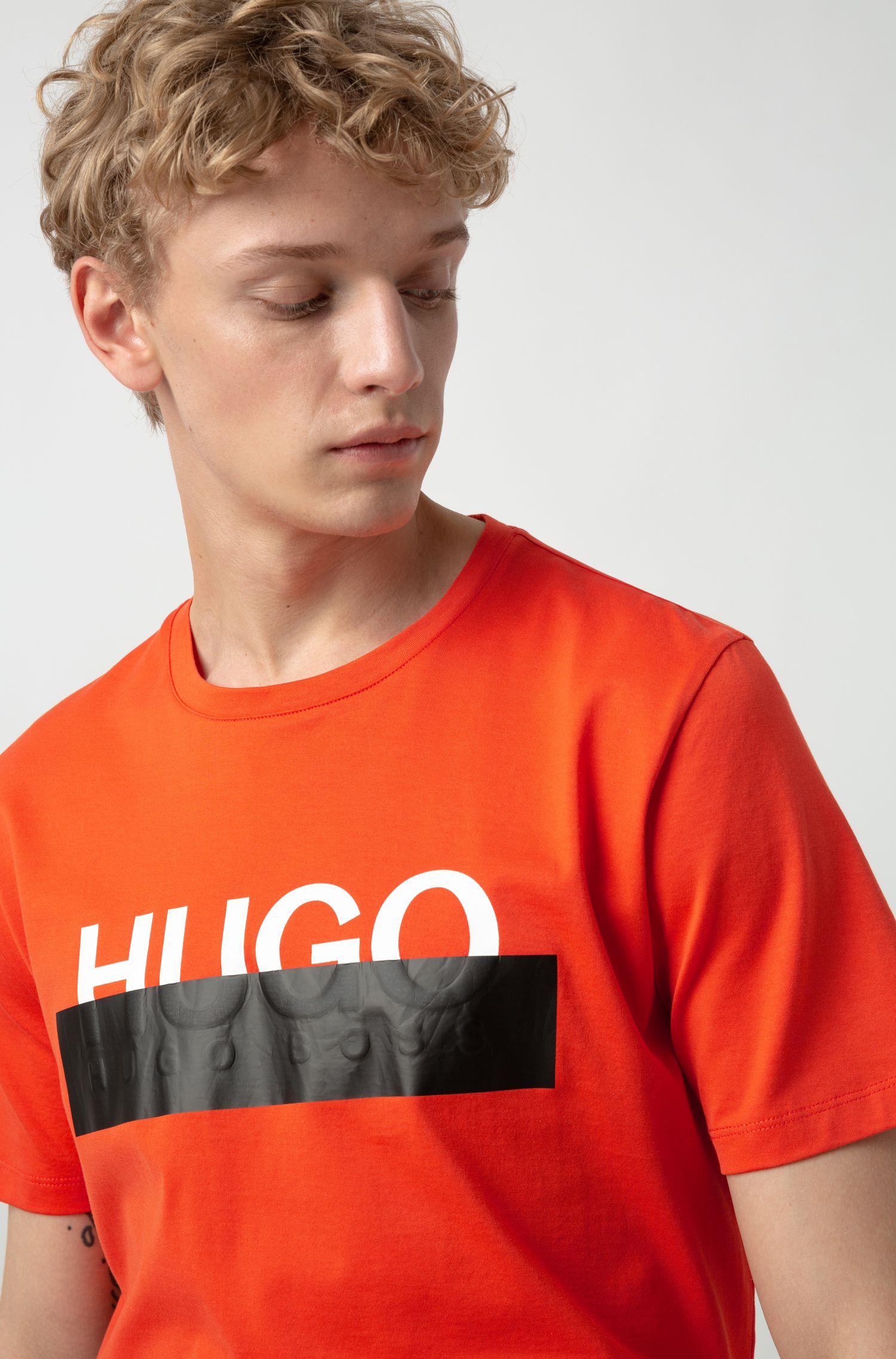 T-Shirt aus Baumwolle mit abgeschnittenem Logo, Orange