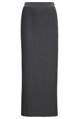Jupe longue en jersey à la mini structure plissée, Anthracite