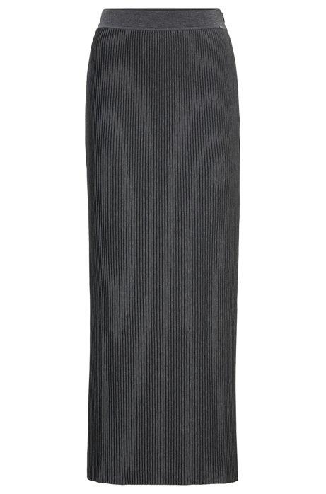 Maxirok van jersey met mini-plisséplooien, Antraciet