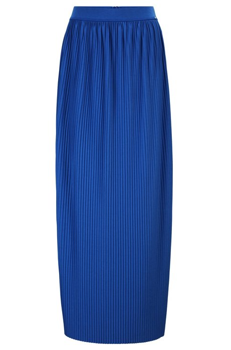 Jersey maxi skirt with mini plissé pleats, Blue