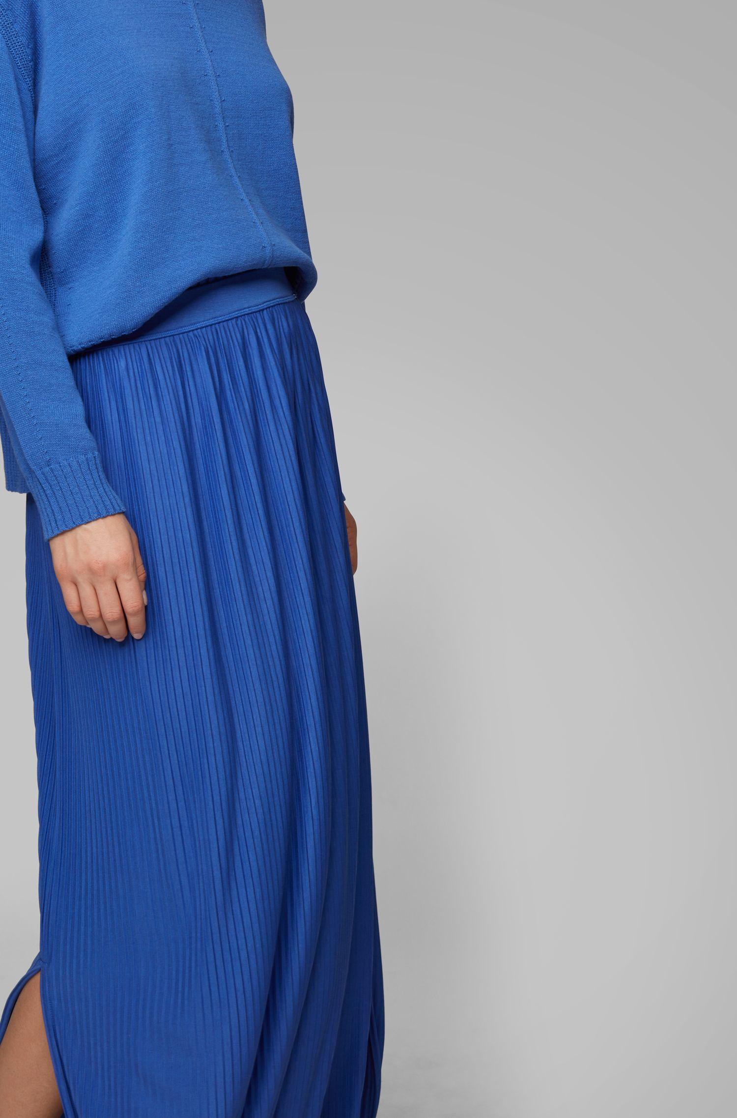 Jersey-Maxirock mit feinen Plissee-Falten, Blau