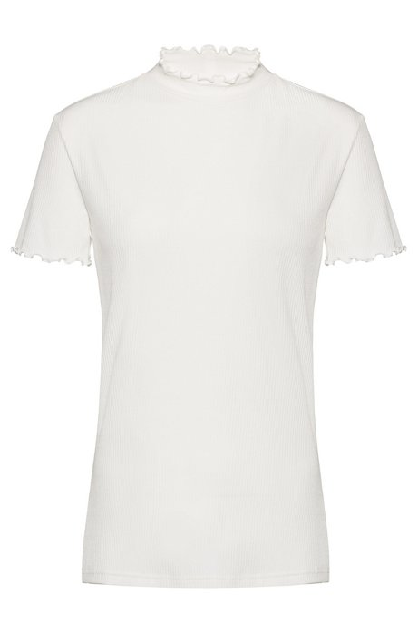 Ribbed T-shirt with ruffled trims, Natural