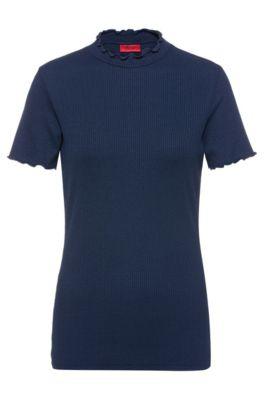 Geripptes T-Shirt mit gerüschten Abschlüssen, Dunkelblau