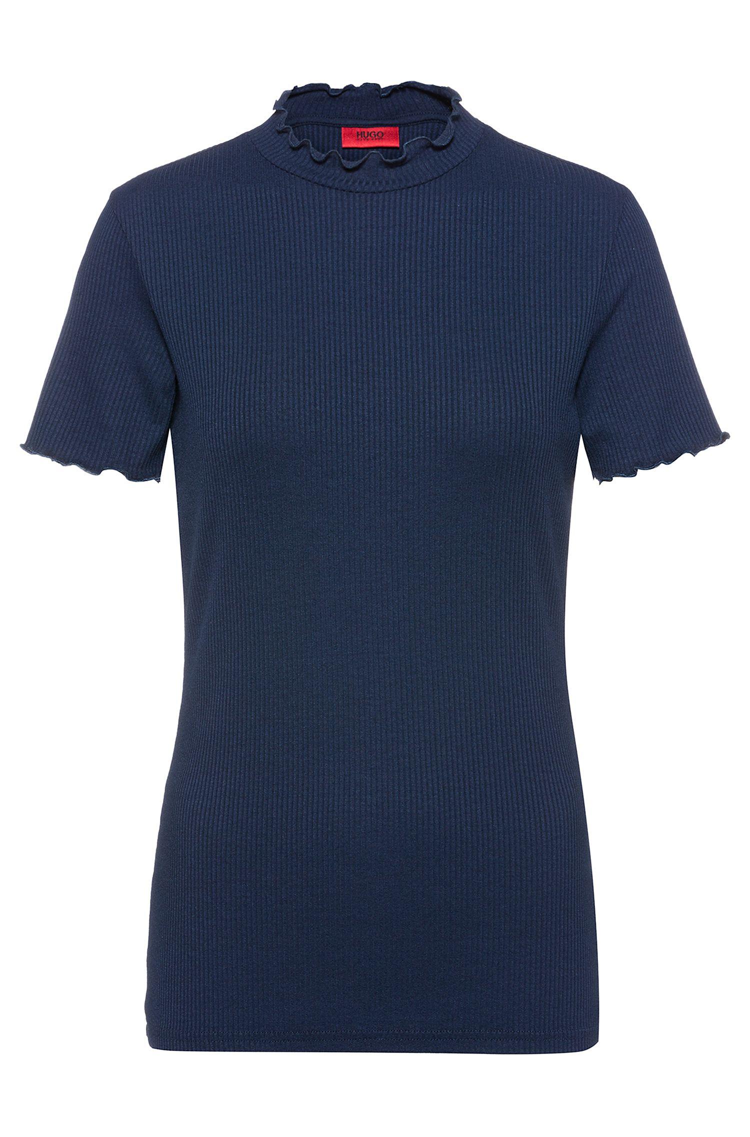 T-shirt a coste con delicate increspature, Blu scuro