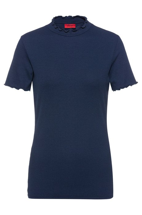 Ribbed T-shirt with ruffled trims, Dark Blue