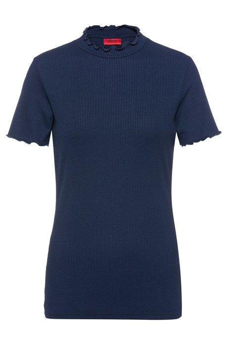 Camiseta de canalé con ribetes de volante, Azul oscuro