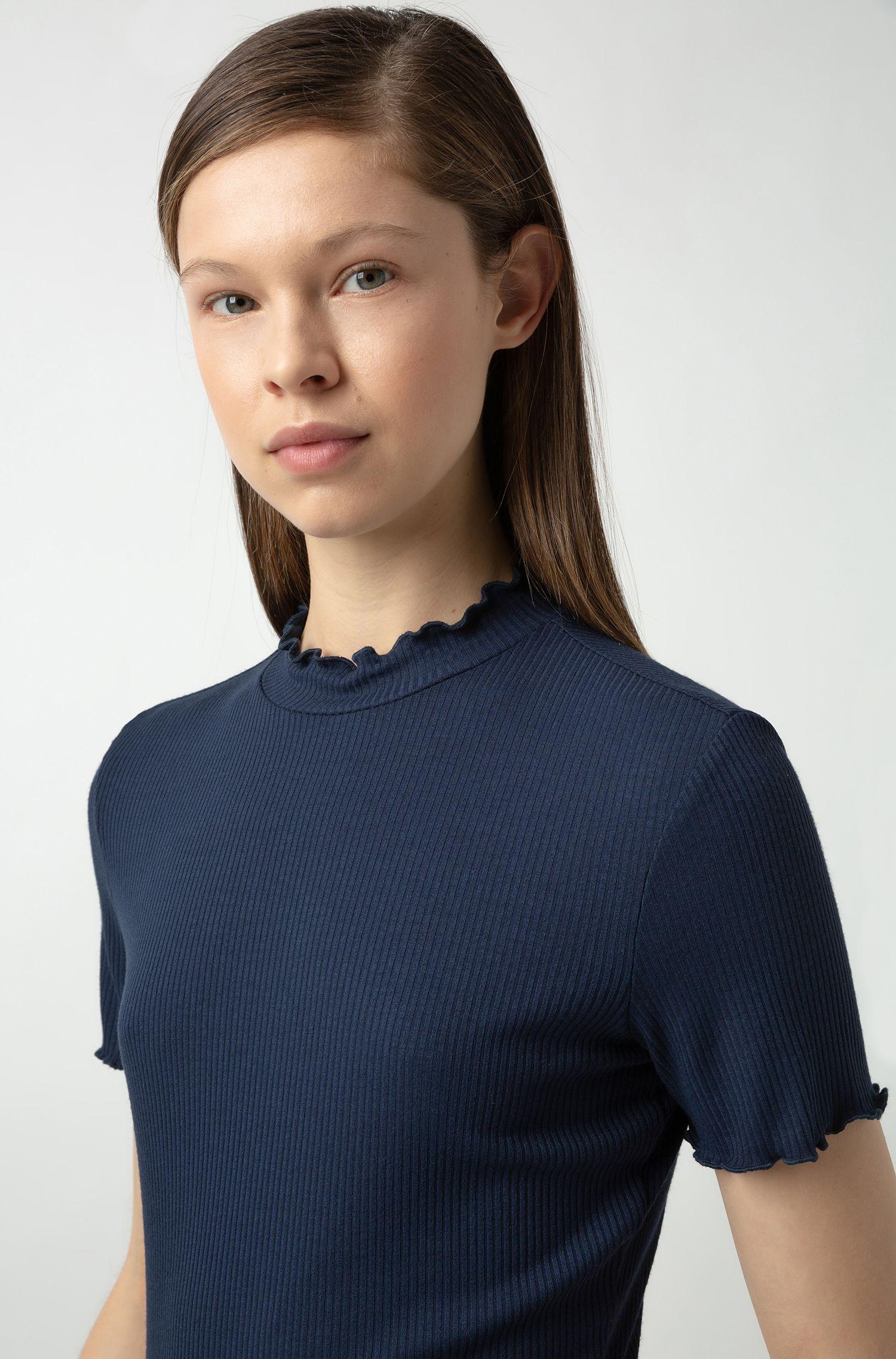 T-shirt côtelé à ruchés, Bleu foncé
