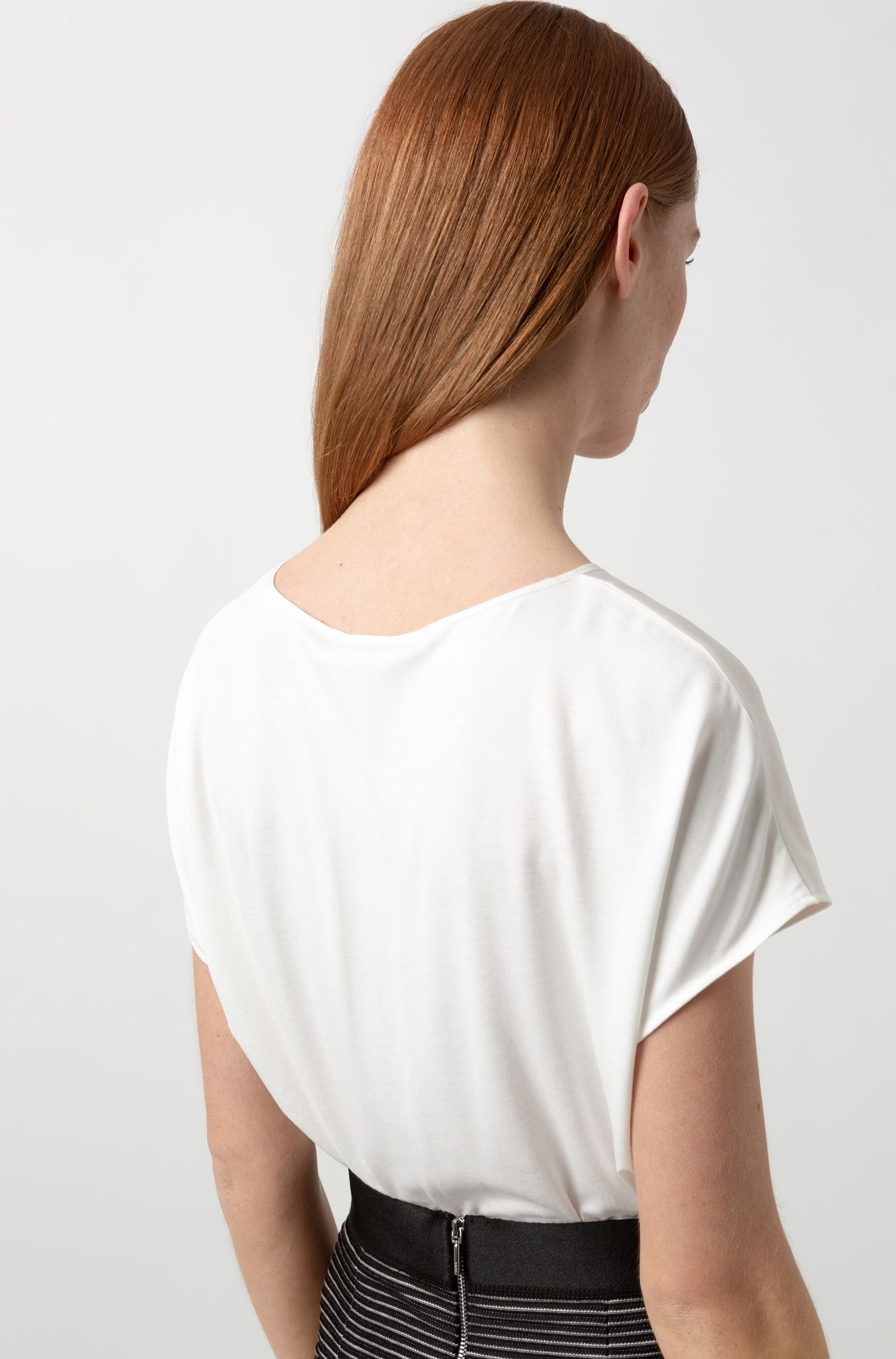 Cap-sleeved top with stretch-silk panel and contrast piping, Natural