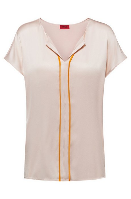 Cap-sleeved top with stretch-silk panel and contrast piping, light pink