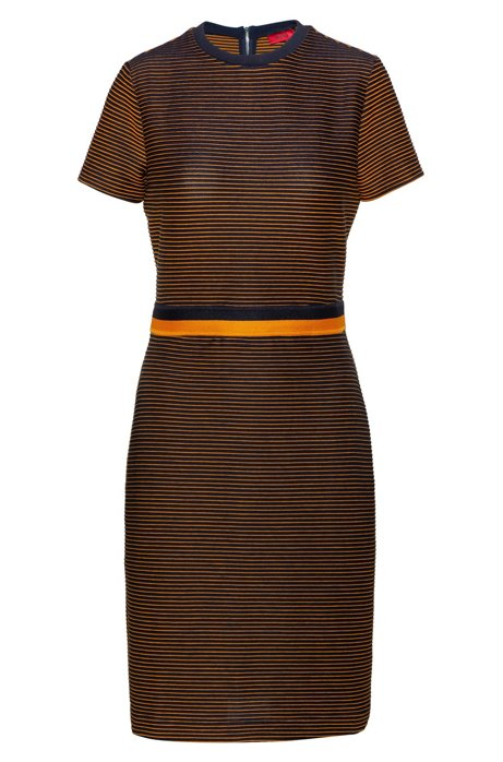 Slim-fit jersey dress with two-tone stripe, Blue