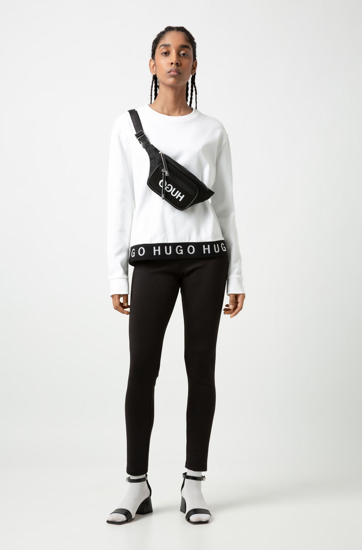 Cotton sweatshirt with logo hemline, White