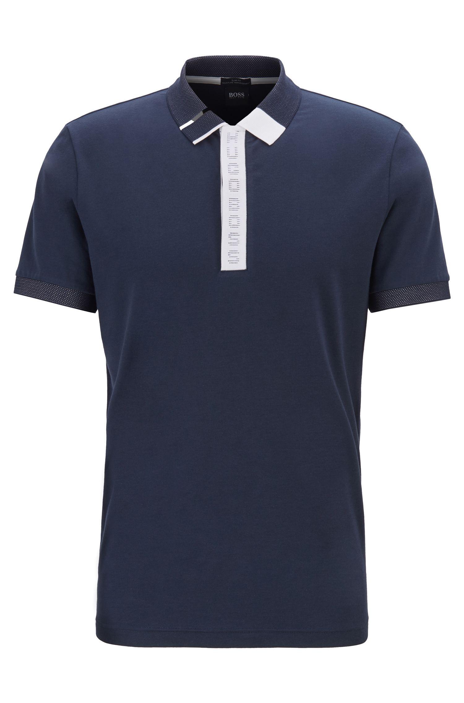 Slim-fit polo shirt with logo placket and S.Café®, Dark Blue