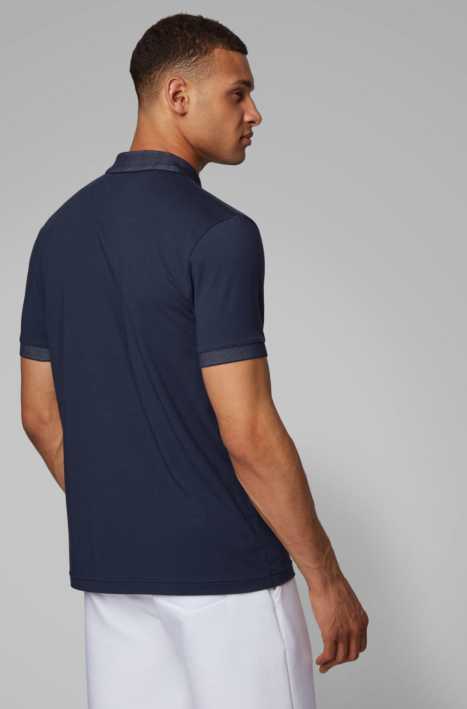 Polo Slim Fit avec patte de boutonnage à logo et fibres S.Café®, Bleu foncé