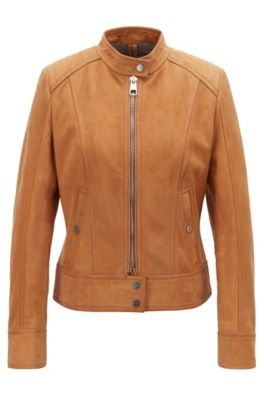 Jersey-lined biker jacket in lamb nubuck, Light Brown