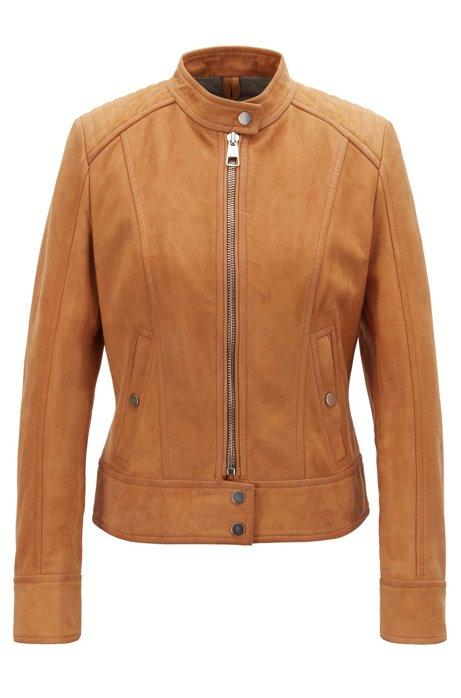 Jersey-lined biker jacket in lamb nubuck, Light Brown