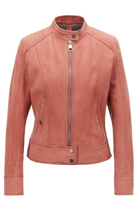 Jersey-lined biker jacket in lamb nubuck, Light Red