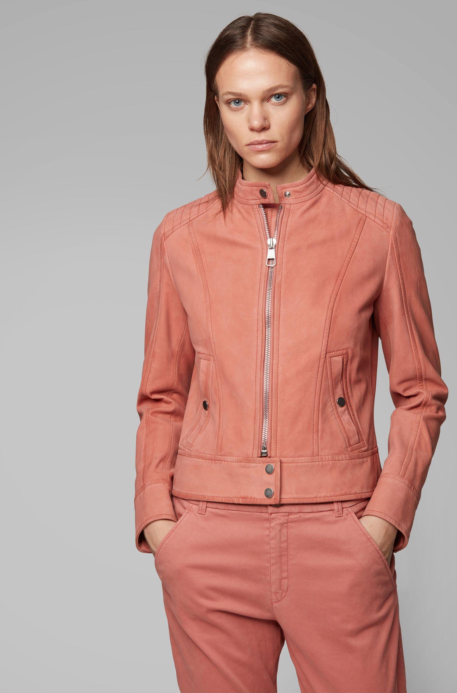 Jersey-lined biker jacket in lamb nubuck, Light Red