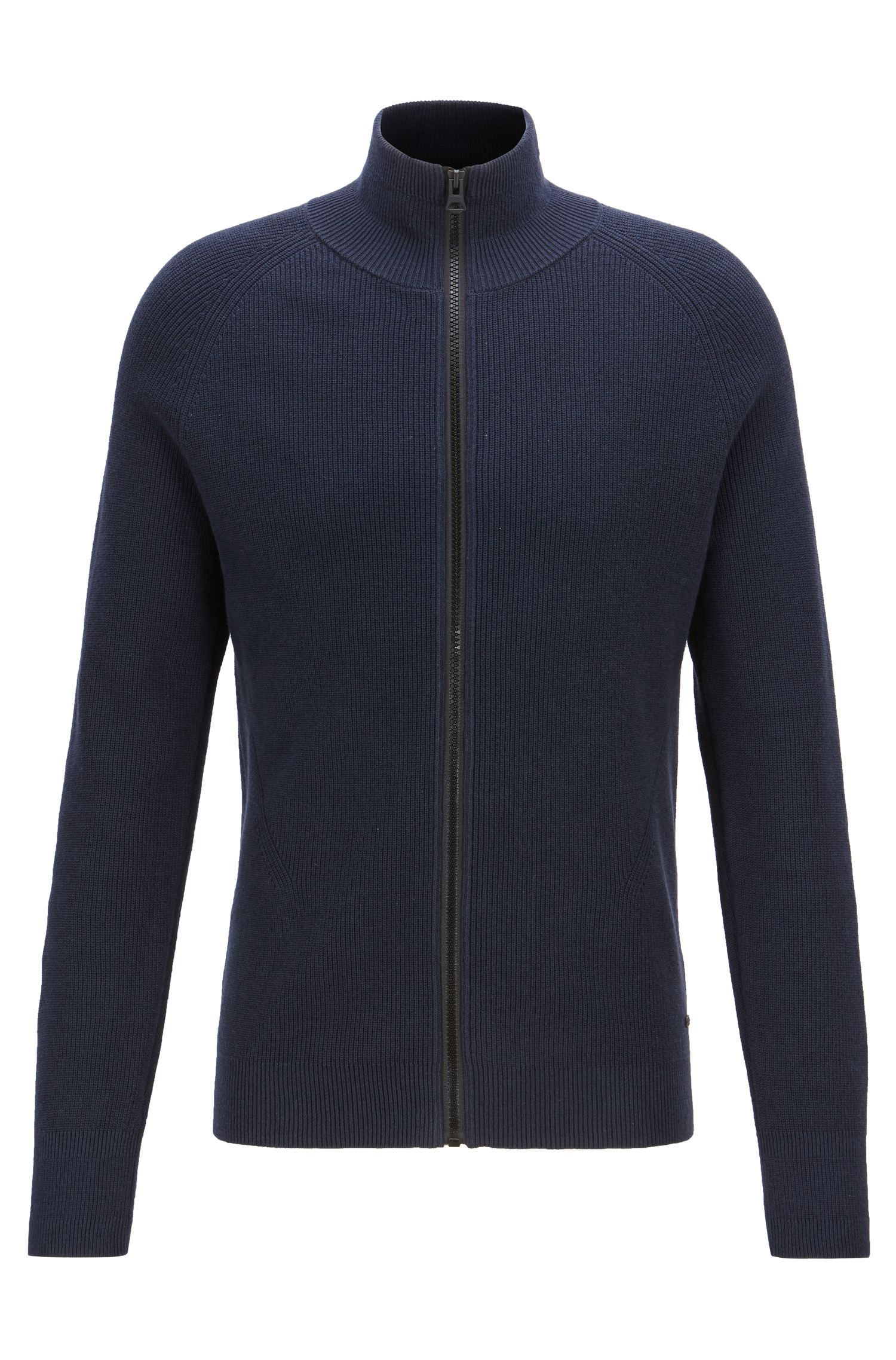 Knitted jacket in ribbed cotton with front zip, Dark Blue