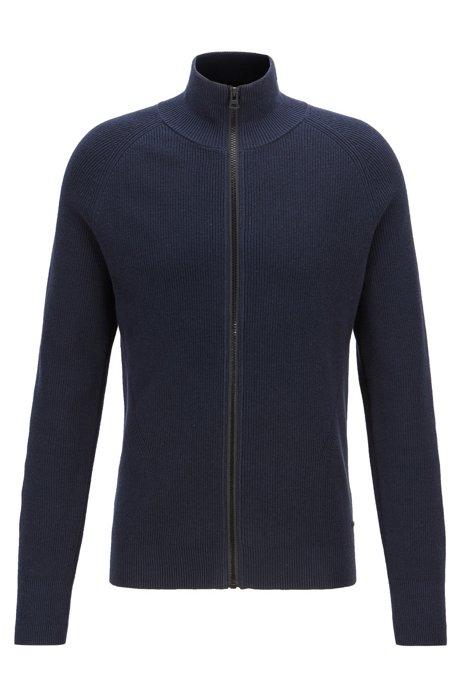 Gebreid vest van geribde katoen met ritssluiting voor, Donkerblauw