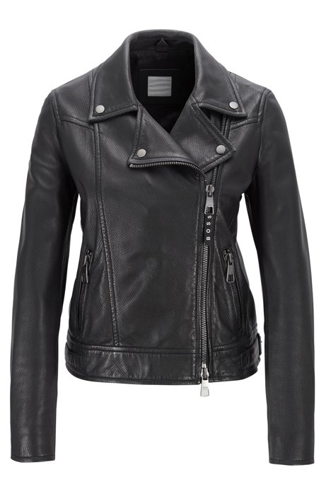 Perforated biker jacket in lamb leather with asymmetric zip, Black