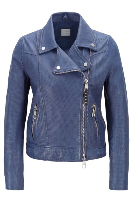 Perforated biker jacket in lamb leather with asymmetric zip, Blue