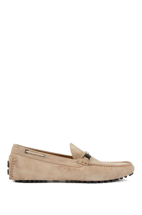 Italian-made moccasins in suede with cord details, Beige