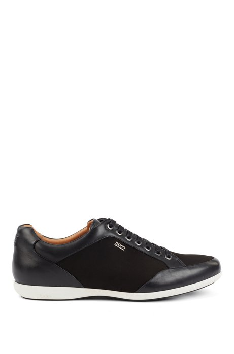 Low-top trainers in mixed leathers with logo lettering, Black