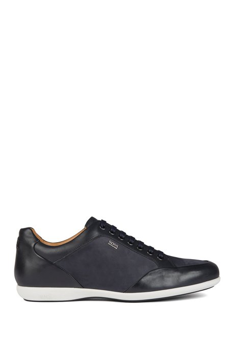 Low-top trainers in mixed leathers with logo lettering, Dark Blue