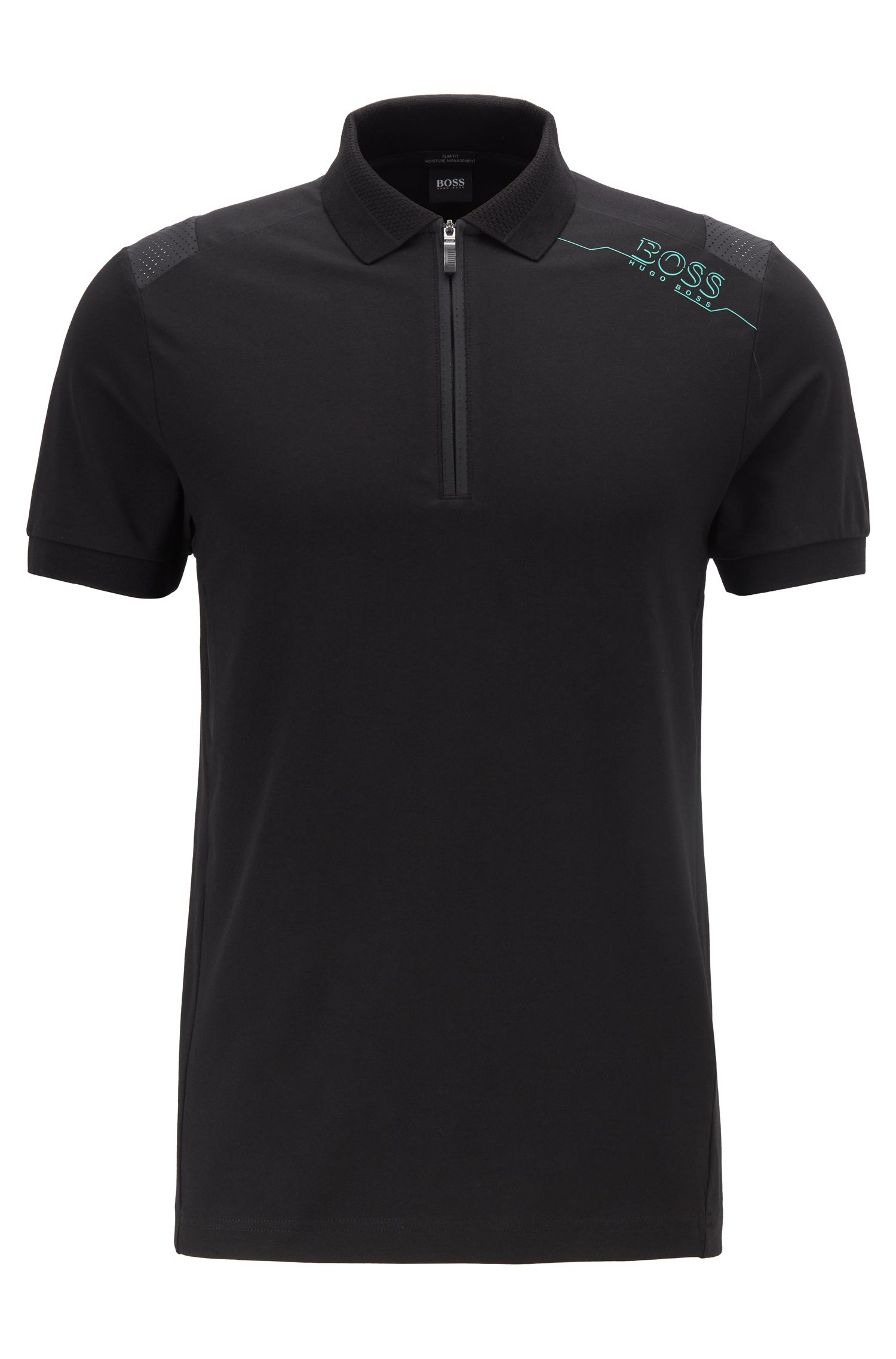 Slim-fit polo shirt with S.Café® and perforated panels, Black